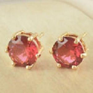 Round 8mm Red Ruby Stud Earrings,
